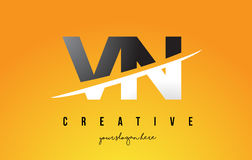 VN V N Letter Modern Logo Design with Yellow Background and Swoo Royalty Free Stock Photography
