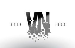 VN V N Pixel Letter Logo with Digital Shattered Black Squares Stock Photo