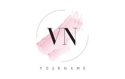 VN V N Watercolor Letter Logo Design with Circular Brush Pattern Royalty Free Stock Photos