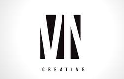 VN V N White Letter Logo Design with Black Square. Royalty Free Stock Images