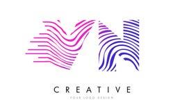 VN V N Zebra Lines Letter Logo Design with Magenta Colors Stock Photos