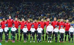 Vänlig match Ukraina vs Wales i Kyiv, Ukraina Arkivbild