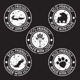 Vänlig stämpel för rund eco Natur animaliska produkter, djurliv dem Royaltyfria Bilder