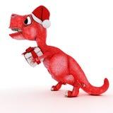 Vänlig tecknad filmdinosaurie med gåvajulasken Arkivbild