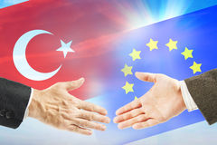 Vänskapsförbindelser mellan europeisk union och Turkiet Arkivbild