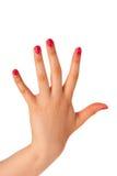 Vänster hand för kvinnlig Arkivbild