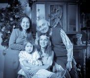 Vntage photo of happy family Stock Photography