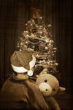 Väntande på jultomten för barn Arkivfoto