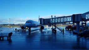Passenger aircraft near the ladder stock video