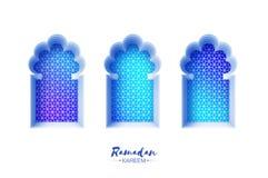 Voûte arabe de fenêtre dans le style de coupe de papier Cartes de voeux de Ramadan Kareem d'origami Modèle d'arabesque Croissant  illustration stock