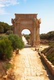 Voûte dans la vieille Magna romaine de Leptis de ville, Libye Images libres de droits