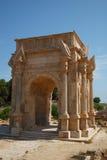 Voûte dans la vieille Magna romaine de Leptis de ville, Libye Photographie stock