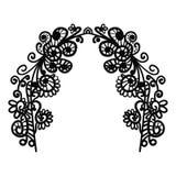 Voûte de griffonnage Cadre abstrait des éléments floraux de griffonnage noir avec des fleurs, des branches et des feuilles d'isol illustration de vecteur