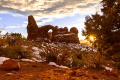 Voûte de tourelle au coucher du soleil photographie stock libre de droits