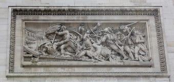 Voûte triomphale sur le Champs-Elysees Bas-relief Photographie stock