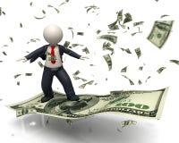 vôo do homem de negócio 3d na cédula do dólar americano 100 Foto de Stock