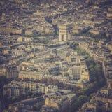 Voûte de vue aérienne de vintage de Triumph à Paris photographie stock