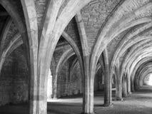 Voûtes d'église en noir et blanc Photo stock