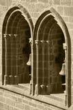 Voûtes gothiques et colonnes dans une façade Olite, Espagne Photographie stock libre de droits