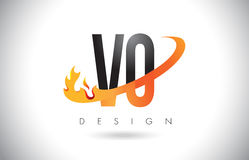 VO V O Letter Logo with Fire Flames Design and Orange Swoosh. VO V O Letter Logo Design with Fire Flames and Orange Swoosh Vector Illustration Royalty Free Stock Photography