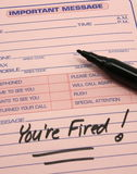 Você é despedido! Mensagem importante imagens de stock royalty free