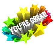 Você é grande - elogie palavras para o sucesso Foto de Stock Royalty Free