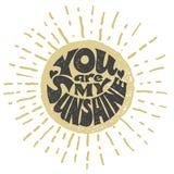 Você é minha luz do sol Rotulação do vetor ilustração stock