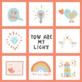 Você é minha luz Entregue sinais tirados do dia da rotulação e do ` s do Valentim Fotografia de Stock