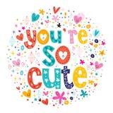 Você é tipografia tão bonito que rotula o cartão decorativo do Valentim do texto Fotografia de Stock Royalty Free