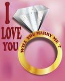 Você casar-me-á? eu te amo Imagens de Stock Royalty Free
