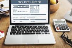 Você ` com referência ao recrutamento contratado Job Staff Concept imagens de stock royalty free