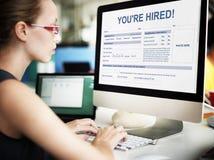 Você ` com referência ao recrutamento contratado Job Staff Concept fotografia de stock royalty free