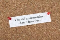 Você cometerá erros aprender deles Foto de Stock