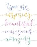Você está inspirando a caligrafia Imagem de Stock