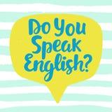 Você fala o inglês ilustração royalty free