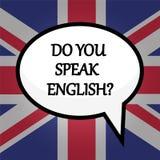 Você fala o inglês? conceito da educação sobre a bandeira britânica, estoque ilustração royalty free