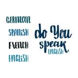 Você fala o inglês - entregue tirado, caligrafia e rotulação, para o uso em seus logotipos dos projetos, ou em outros produtos Imagens de Stock Royalty Free