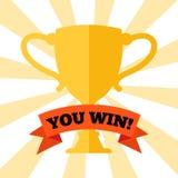 Você ganha! Cartaz com copo premiado ilustração royalty free