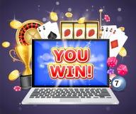 Você ganha o molde do projeto da bandeira do cartaz do vetor do casino ilustração stock