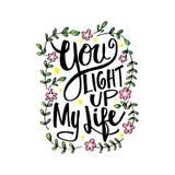 Você ilumina acima minha rotulação da mão da vida ilustração royalty free