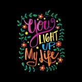 Você ilumina acima minha rotulação da mão da vida ilustração stock