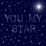 Você meu céu azul estrelado da estrela ilustração stock