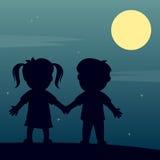 Você, mim e a lua Foto de Stock