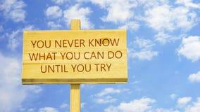 Você nunca conhece o que você pode fazer até que você tente ilustração do vetor