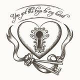 Você obteve as chaves a minha ilustração tirada mão do vetor do vintage do coração com a fita isolada no fundo branco Fotos de Stock Royalty Free
