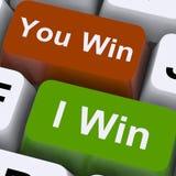 Você ou eu ganhamos o jogo ou a vitória da mostra das chaves Fotos de Stock Royalty Free