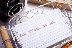Você pertence-me cartão Fotos de Stock