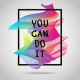 Você pode fazê-lo Cartaz inspirado da ilustração das citações Imagens de Stock