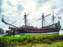 VOC船巴达维亚莱利斯塔德,弗莱福兰省,荷兰 免版税库存照片