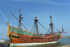 VOC galleon in the Netherlands. Replica of a old Dutch galleon the VOC Batavia Stock Photo